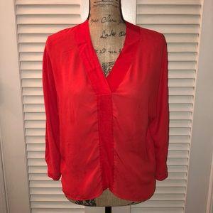Trouve Red-orange V-neck blouse